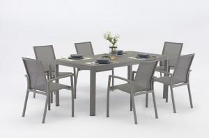 Jacrea  Outdoor New Dining Design DEME  Full Alum  table And  6 pcs Textilene Chairs