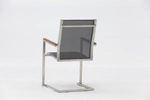 SINGEN Stainless Steel Textilene Dining Chair With Teak Outdoor Garden Patio Furniture China Factory Supplies