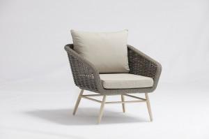Garden Outdoor Furniture GLASGOW Alum. Wicker Lounge 5pcs Set K/D Legs In Teak Color Hand Paint