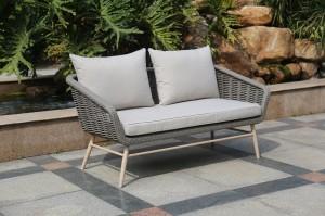 Outdoor Furniture GLASGOW Alum. Rattan Wicker Lounge 4 Pcs Set K/D With Soft Comfort Cushions Legs In Teak Color Hand Paint