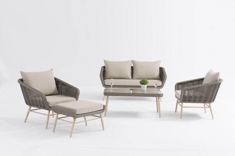 Garden Outdoor Furniture GLASGOW Alum. Wicker Lounge 5pcs Set K/D Legs In Teak Color Hand Paint Featured Image