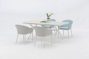 Jacrea Outdoor New Dining Design  HESTIA Alum Textilene 7pcs Set