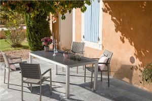 Outdoor Garden Patio Furniture China Factory OROSEI Alum. Glass Table 180x90cm
