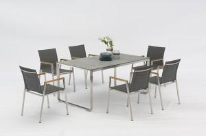 LUGANO&Beja Stainless Steel Textilene Dining 7pcs Set Teak Arms Outdoor Garden Patio Furniture China Factory Supplies