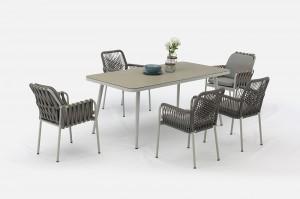 HELA New Design Aluminium Rope Dining 7pcs Set Outdoor Garden Patio Furniture China Factory Supplies
