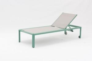LAFERY New Design Alum. Textilene Sun Loungers With Wheels China Factory Outdoor Garden Patio Furniture