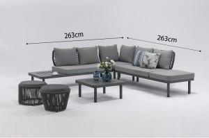 SASSARI Aluminium Rope Corner Lounge K/D 4pcs Set Outdoor Garden Patio Furniture China Factory Supplies