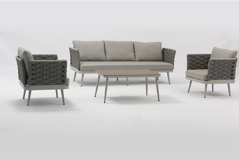 ST. MORITZ New Design Hot Sale Aluminium Rubber Rope Lounge Sofa Set K/D Outdoor Garden Patio Funiture China Factory Supplies Featured Image