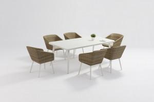 Garden Outdoor Furniture KIVIK Alum. Wicker Dining Set With Rectangular table