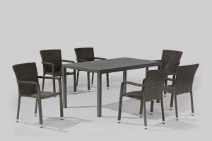 Outdoor Furniture LARACHE Alum. Wicker Dining 7pcs Set