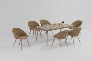 Factory Cheap HotDining Set Rattan Furniture- Patio  Furniture PRAGUE Alum. Wicker Dining 7pcs Set – Jacrea