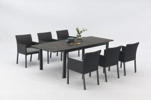 VISTA Aluminium Textilene 7pcs Dining Set Extensionable Table Outdoor Garden Patio Furniture China Factory Supplies