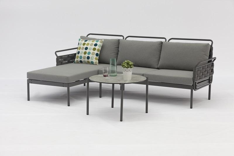 Jacrea Outdoor VOYAGE New German Design Alum. Rubber Rope Corner Lounge 3pcs Set K/D Slim Look With Good Quality Soft Cushion Ceramic Glass Tops Featured Image
