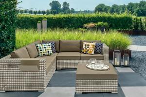 Outdoor Furniture Classical LINDAU  Alum. Wicker Corner Lounge 3pcs Set