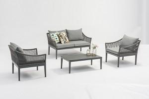SIENA Aluminium Rope 4pcs Lounge Set K/D Outdoor Garden Patio Furniture China Factory Supplies